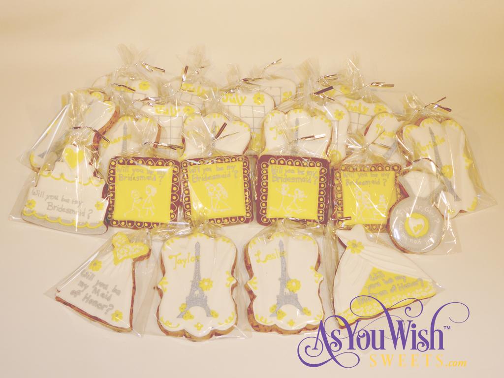Paris Yellow Bridal Invite Cookies sm
