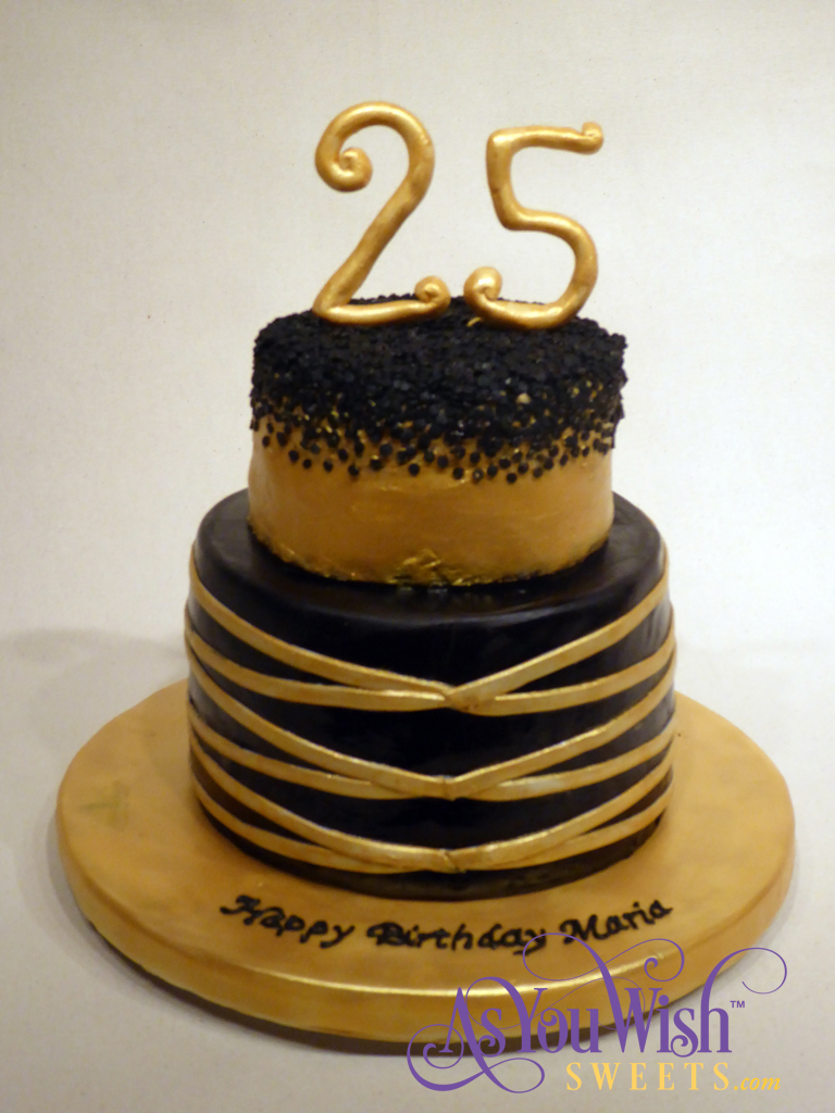 Black and Gold Birthday Cake sm