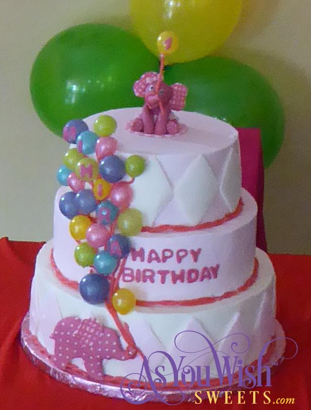 Elephant Balloon First Birthday Cake party