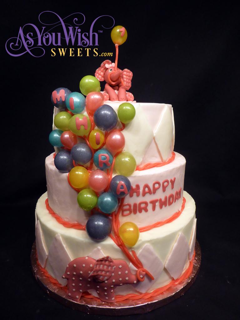Elephant Balloon First Birthday Cake sm