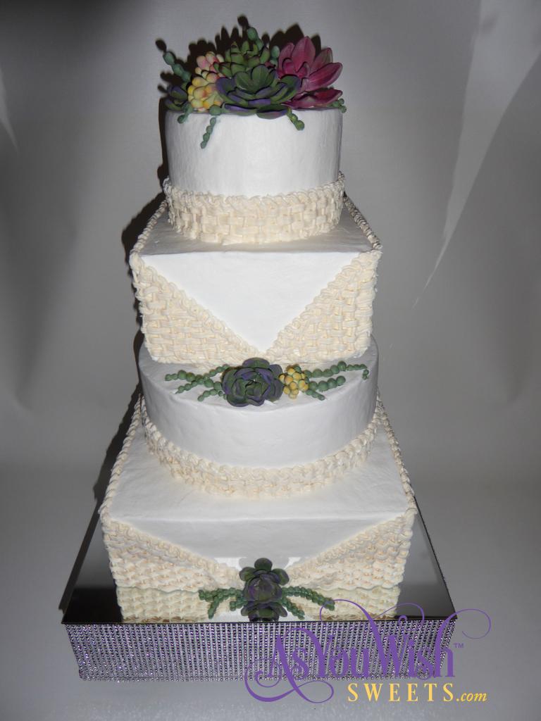 Basketweave wedding cake Top sm