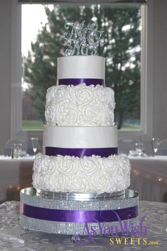 Purple and Rosette Wedding Cake location sm