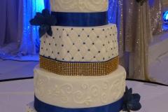 Blue & Gold Wedding Cake sm