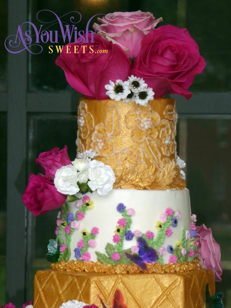 Gold Flowers Wedding Cake Top sm