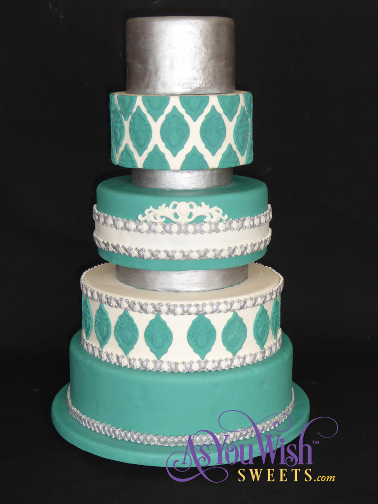 Teal and silver Wedding Cake sm